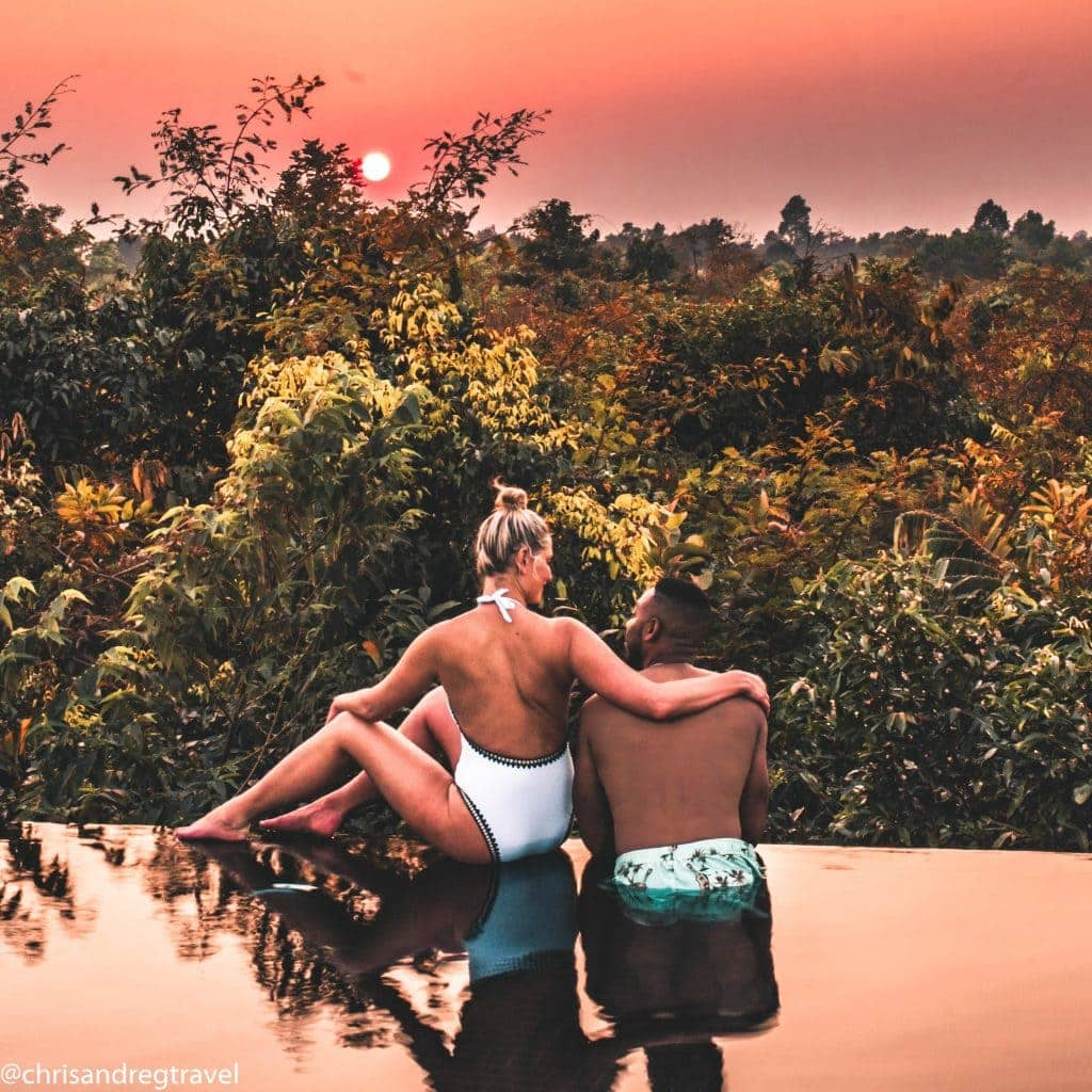 Chris and Reg Enjoying the Angkor Sun Set from The Beige's Infinity Pool