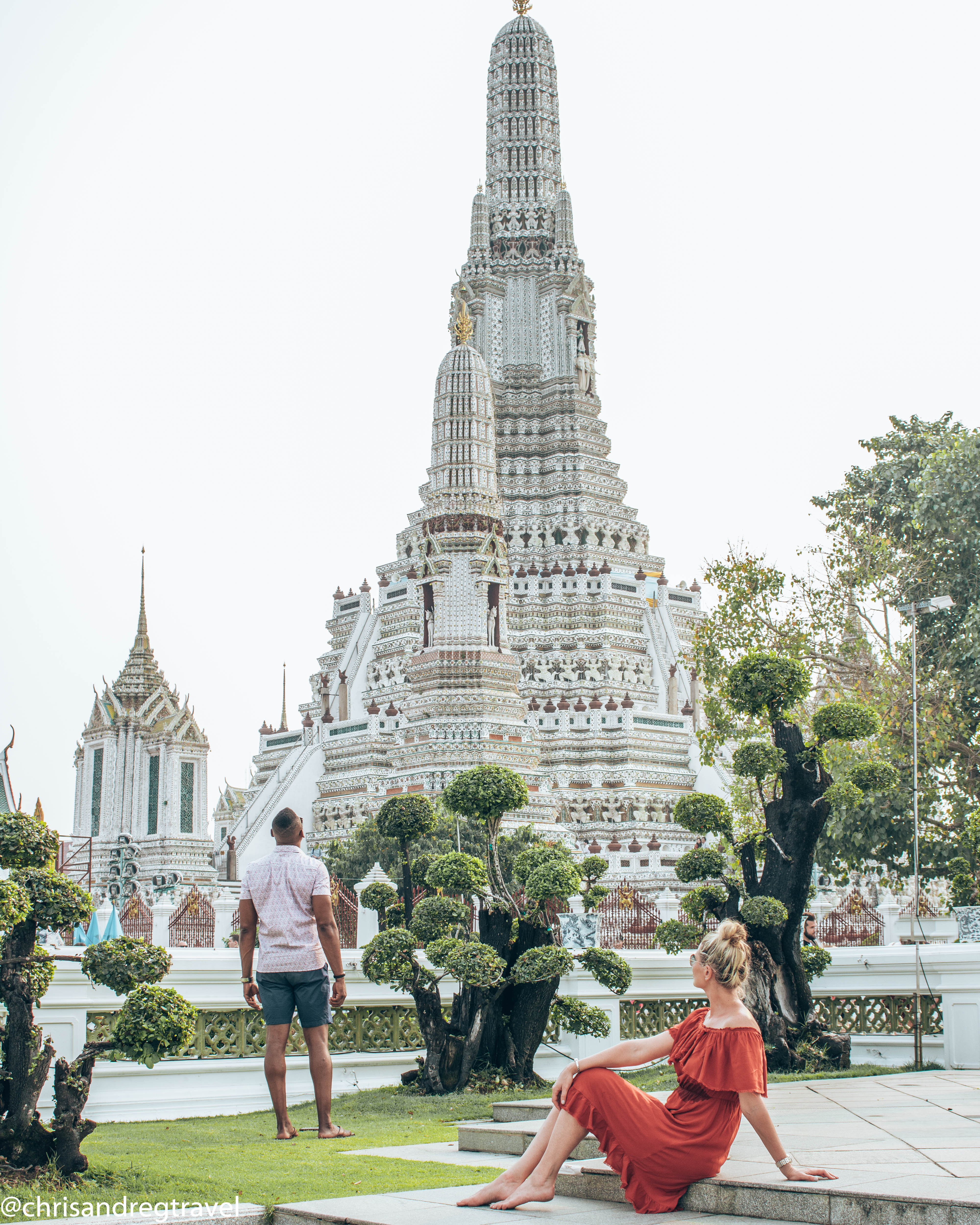 Chris and Reg Soaking up The atmosphere at Wat Arun, one of the best things to do in bangkok