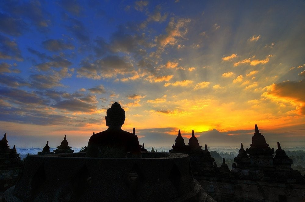 Beautiful Sunrise at Borobudur Temple near Yogyakarta, Indonesia