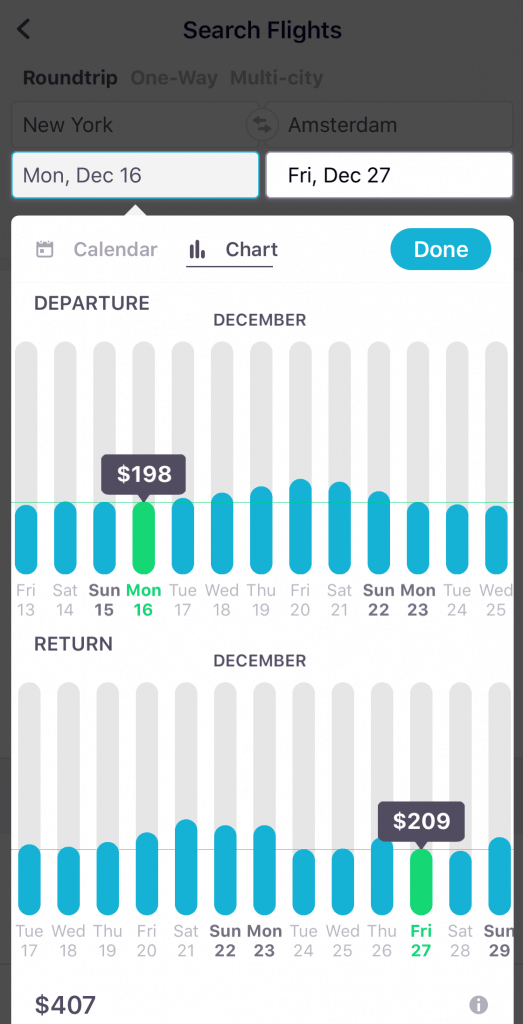 Use the Skyscanner app to find the lowest day to travel on the Search Flights page!