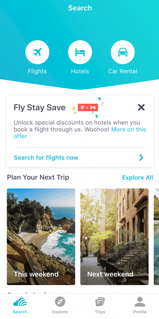 This is the Home screen when you open the Skyscanner App!