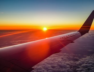 Skyscanner helped us catch the sunset from the airplane!
