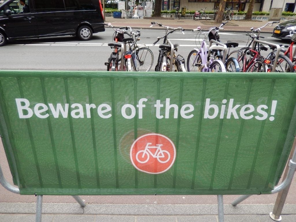 Beware of Bikes Amsterdam, Netherlands. Western Europe Travel Guide