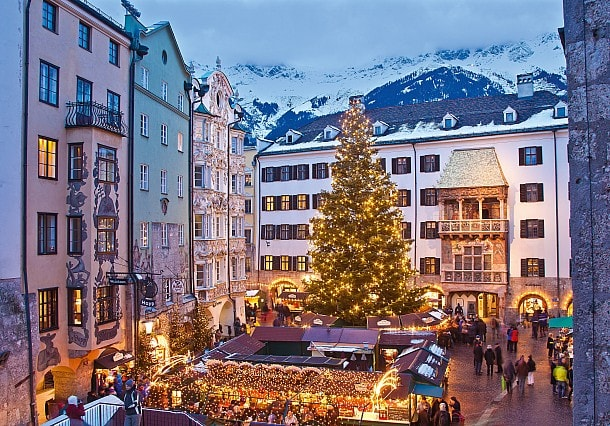 Innsbruck Old Town Christmas market decorated for Christmas