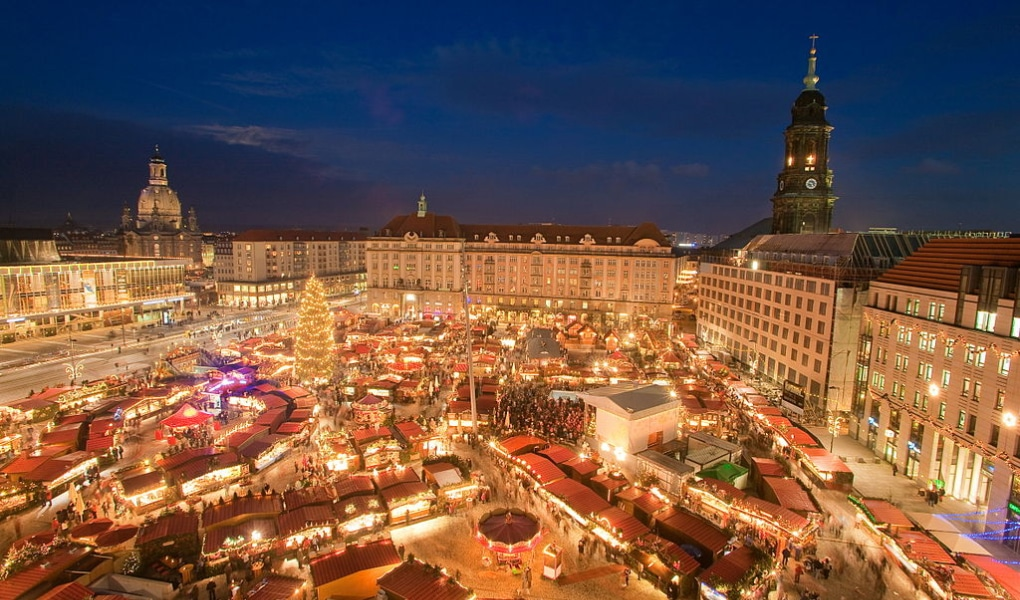 Striezelmarkt Dresden lit up with Christmas light and decorations