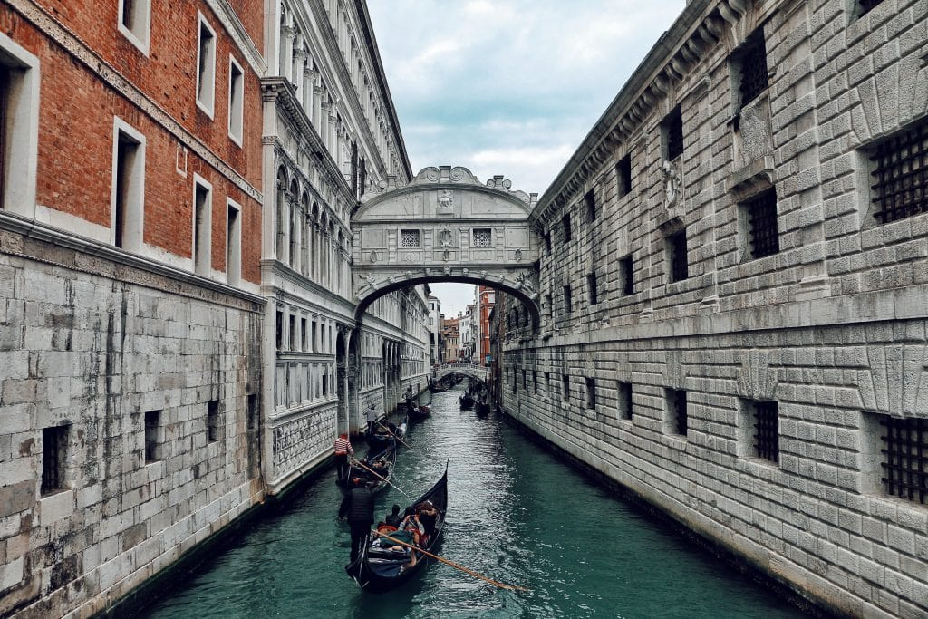 Gondola rides on a canal in Venice Italy a romantic vacation spot