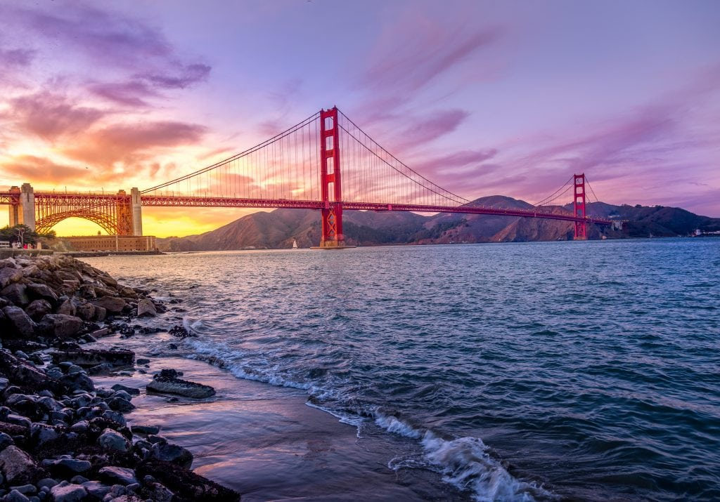 San Francisco looking at the Golden Gate Bridge a romantic vacation spot