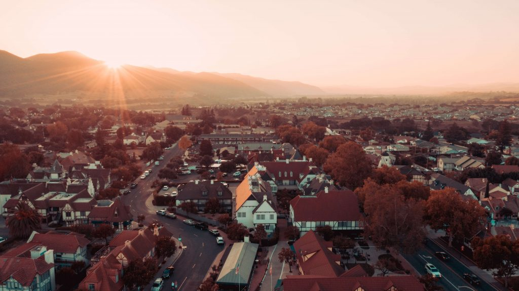 neighborhood in Solvang, California; best fall vacations in the us
